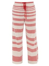 Loewe Jacquard Striped Linen Blend Track Pants Beige Multi