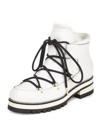Jimmy Choo Ditto Lace Up Rabbit Fur Boot White
