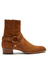 Saint Laurent Wyatt Suede Ankle Boots Tan