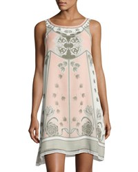 Max Studio Floral Print Georgette Trapeze Dress White Pink