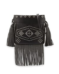 Saint Laurent Helena Monogram Studded Fringe Bucket Bag Black Men's Noir