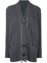 Alexander Mcqueen Double Zip Cardigan Grey