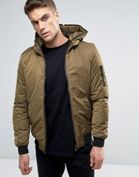 Pull And Bear Pullandbear Ma1 Bomber Jacket With Hood In Khaki Khaki Green