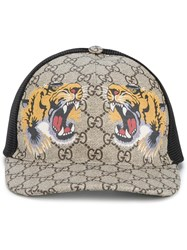 Gucci Tigers Print Gg Supreme Baseball Cap Brown