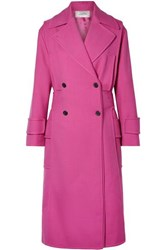 Valentino Double Breasted Wool Blend Twill Coat Magenta