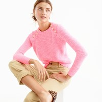 J.Crew Textured Cotton Sweater With Anchor Buttons In Variegated Pink