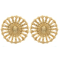 Kastur Jewels Victorian Regal Statement Earrings Gold