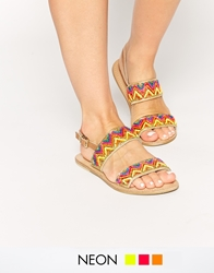 Miss Kg Roxanne Beaded Two Part Flat Sandals Multi
