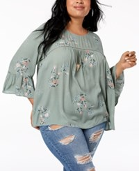 Eyeshadow Trendy Plus Size Printed Illusion Blouse Grey Combo