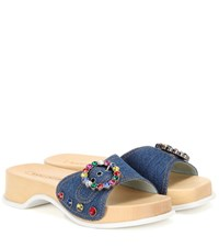 Marc Jacobs Anita Crystal Embellished Denim Sandals Blue