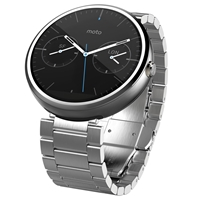 Motorola Moto 360 Metal Smartwatch Android Wear Light Chrome Case And Stainless Steel Band