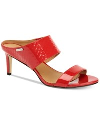 Calvin Klein Women's Cecily Wide Strap Sandals Women's Shoes Lipstick Red