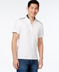 Inc International Concepts Contrast Trim Polo Only At Macy's White Pure