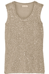 Oscar De La Renta Sequined Cashmere And Silk Blend Top