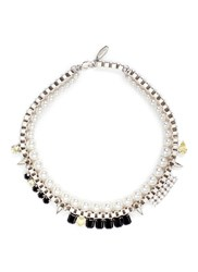 Joomi Lim 'Organized Chaos' Faux Pearl Chain Necklace Metallic