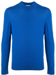 Ck Calvin Klein Crew Neck Knit Sweater Blue