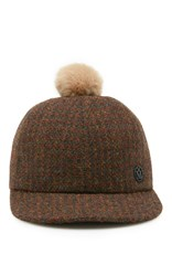 Maison Michel Nick Cap With Pom Brown