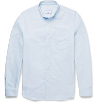 Ami Alexandre Mattiussi Slim Fit Button Down Collar Cotton Oxford Shirt Blue