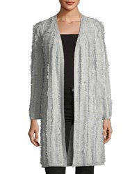Neiman Marcus Cashmere Open Front Fringed Cardigan Sweater Light Gray