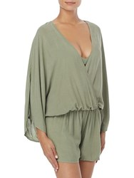 Vince Camuto Drawstring Coverup Romper Lagoon