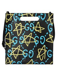 Guccighost Tote Unisex Leather Suede One Size Black