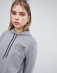 Cheap Monday Chest Logo Hoodie Grey Melange