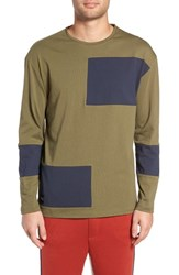 Native Youth Colorblock Long Sleeve T Shirt Olive