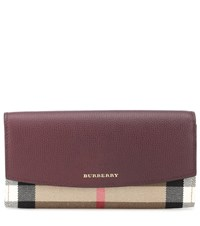 Burberry House Check And Leather Wallet Red