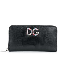 Dolce And Gabbana Logo Plaque Wallet Leather Glass Black