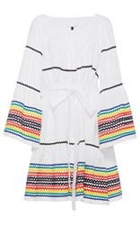 Lisa Marie Fernandez Long Sleeve Peasant Dress With Multicolored Ricrac White