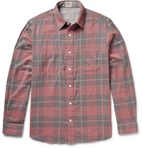 Faherty Belmar Reversible Checked Cotton Flannel Shirt Red