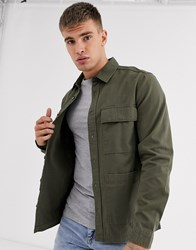 Burton Menswear Overshirt In Khaki Green