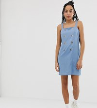 Urban Bliss Double Breasted Chambray Mini Dress Blue