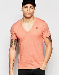 G Star G Star Base T Shirt V Neck In Red Heather Flame Heather