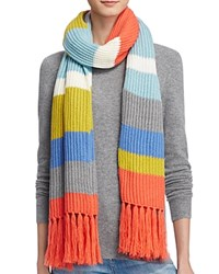 Aqua Striped Fringe Scarf 100 Bloomingdale's Exclusive Coral