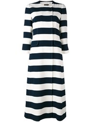 Dolce And Gabbana Striped Coat Blue