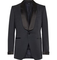Tom Ford Midnight Blue Satin Trimmed Wool And Mohair Blend Tuxedo Jacket Navy
