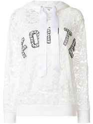 Forte Couture Lace Embroidered Hooded Sweatshirt Cotton Polyamide Rayon Polyester White