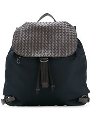 Bottega Veneta Woven Detail Backpack Blue