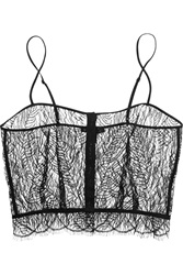 Kiki De Montparnasse Enchante Stretch Charmeuse Trimmed Chantilly Lace Camisole Black