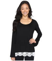 Karen Kane Lace Hem Boat Neck Top Black Off White Women's Clothing Multi