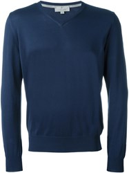 Canali V Neck Sweater Blue