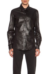 Blk Dnm Leather Shirt 15 In Black