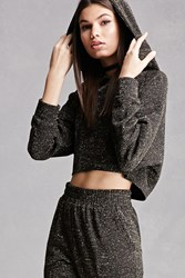 Forever 21 Cropped Glitter Knit Hoodie