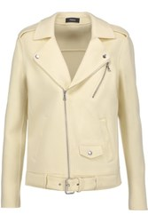 Theory Tralsmin Double Faced Wool And Cashmere Blend Biker Jacket Pastel Yellow