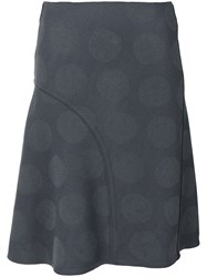 Nina Ricci Tonal Dots A Line Skirt Women Lambs Wool 42 Grey