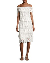 Miguelina Angelica Off The Shoulder Tiered Lace Dress White