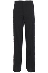 Red Valentino Redvalentino Woman Snap Detailed Wool Blend Wide Leg Pants Black