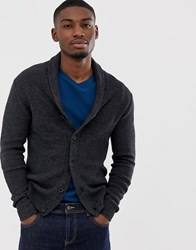 Selected Homme Organic Cotton Knitted Shawl Cardigan In Dark Grey