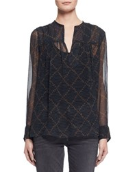 Etoile Isabel Marant Bowtie Long Sleeve Patterned Silk Tunic Black